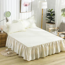 New Waterproof Beige Color Bed Skirt With Surface Bed Mattress Cover Sheet Home Textile Bed Linens(43cm Height)(China)