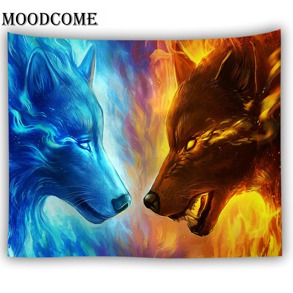 fire blue wolf tapestry dorm decor wall hanging carpet <font><b>tenture</b></font> murale primitive decor tapisserie murale image