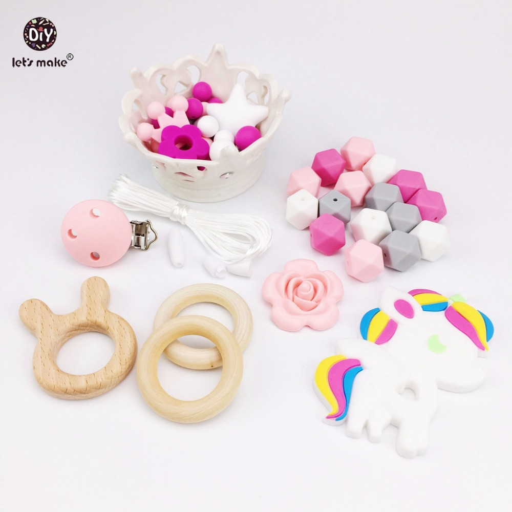 Let's Make Baby Silicone Teether Unicorn Beads Wooden Rabbit Can Chew DIY Teething Necklace Accessories Nursing Pendant Teether let s make baby teether wood animal rattle organic teether jungle toy wooden waldorf toys diy accessories can chew baby teether