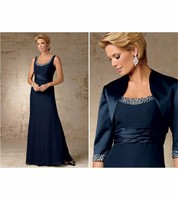 Two piece suit Mother of the Bride strap Floor length Bolero Sequins Beaded mother dress for wedding party