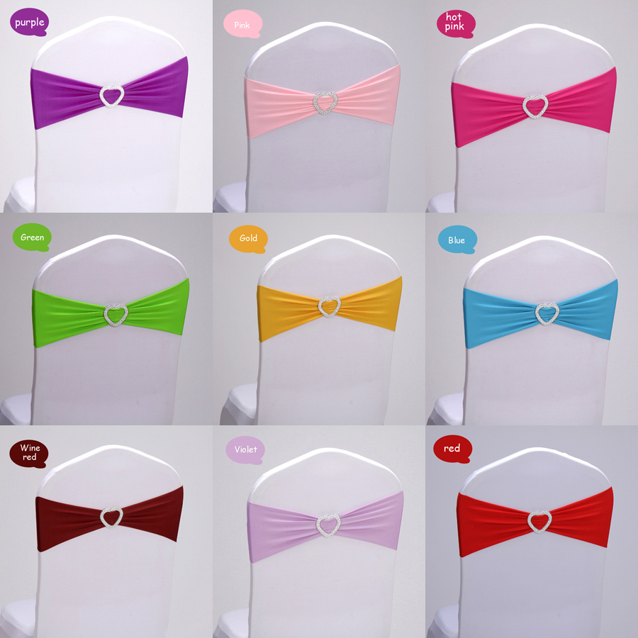 Wholesale 50pcs lot Spandex Lycra Wedding Chair Sash Band Love Heart Knot Elastic Wedding Birthday Party