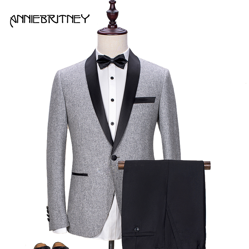 2018 New Brand Light Grey Tweed Suit Men Groom Tuxedo Blazer Slim Fit 2 Piece Prom Men Wedding Suits Terno Masculino jacket+Pant