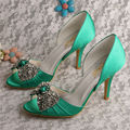 Wedopus MW347 Elegant Rhinestone Wedding Shoes Green Fashion Shoes Heels for Women