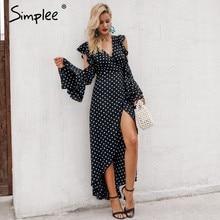 3b8ceff982cafe Simplee Elegante zwarte chiffon vrouwen lange jurk stippen Zomer wrap split  sjerpen maxi jurk Sexy avondfeest vrouwelijke jurk v.