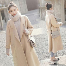 Womens Long Thicken Woolen Coat Slim-Fit Lapel Solid Long-Sleeved Long-Sleeve Double-Faced Blends Coat Autumn Winter New Style