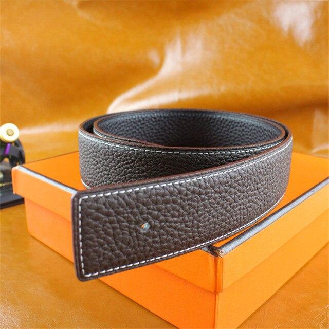 2017 Marca de Design de Alta Qualidade Cowskin Camada Frist de Couro H Logotipo Original Cintos Para Homens Cintos de Marca Fivela de Cobre Com caixa