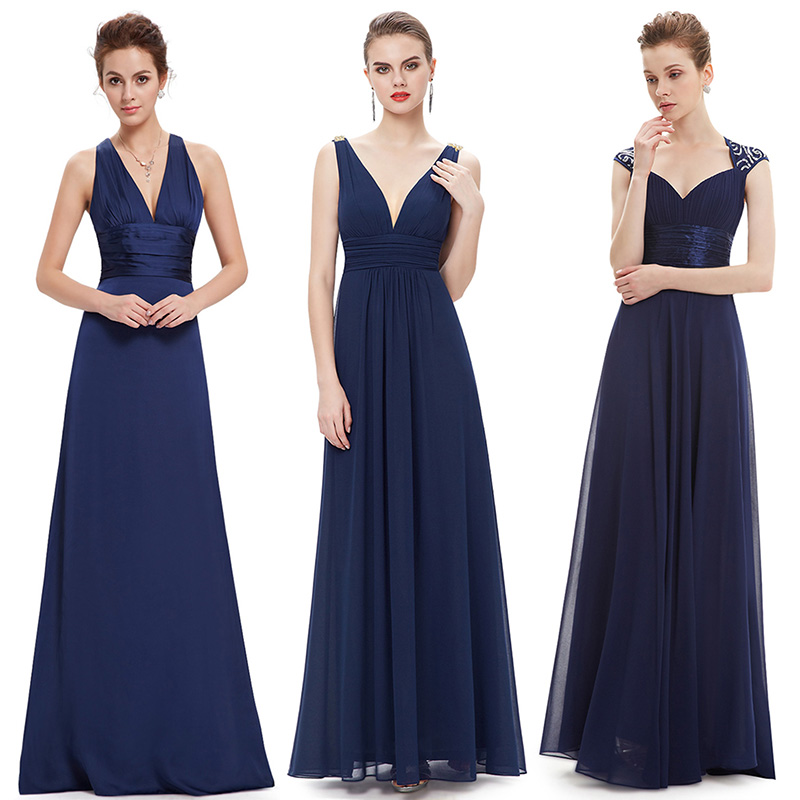 Ever-Pretty Sexy Women Evening Dresses V-Neck Sleeveless Backless A-Line Slim Chiffon Long Navy Blue Evening Formal Party Dress