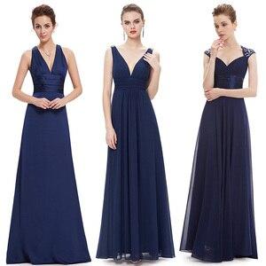 Image 1 - Ever Pretty Sexy Women Evening Dresses V Neck Sleeveless Backless A Line Slim Chiffon Long Navy Blue Evening Formal Party Dress