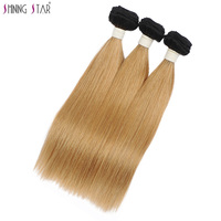Brazilian Straight Hair Weave Honey Blonde Bundles With Closure Colored 1B 27 Shining Star Ombre Hair Weave 1/3/4 Pcs Non Remy
