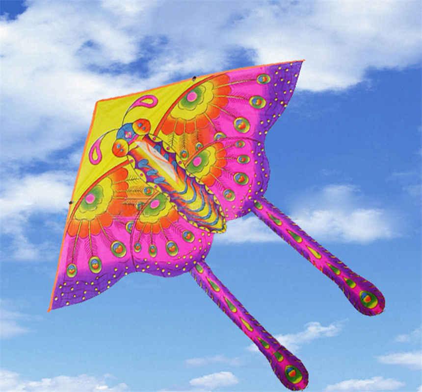 50 Cm Nilon Pelangi Kupu-kupu Kite Luar Ruangan Dilipat Anak-anak Kite Stunt Kite Berselancar Tanpa Bar dan Garis Kontrol