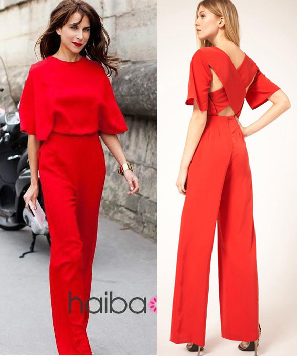 2016 Red Black Fashion Batwing Short Sleeve Backless Cross