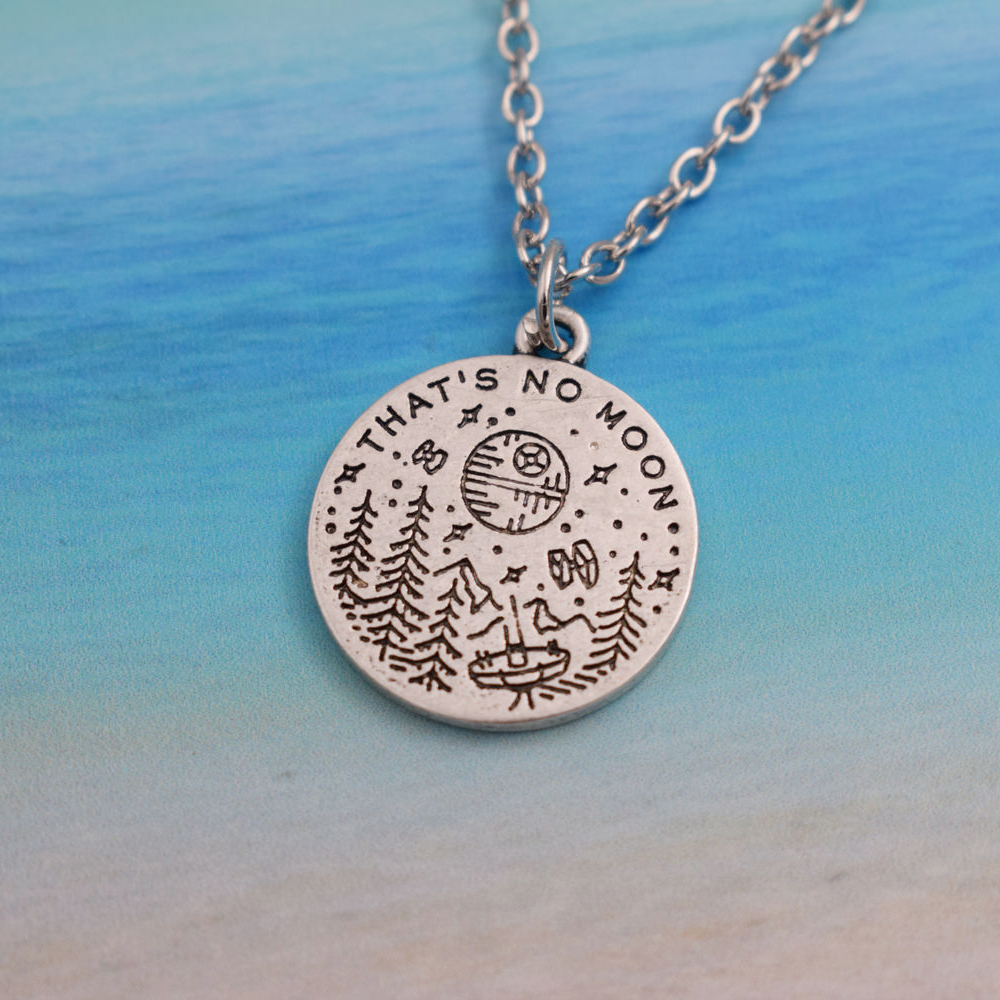 TEAMER Camping Pendant Necklace Engrave Cabin Pine Moon Stars Upon Mountain Out Door Jewelry