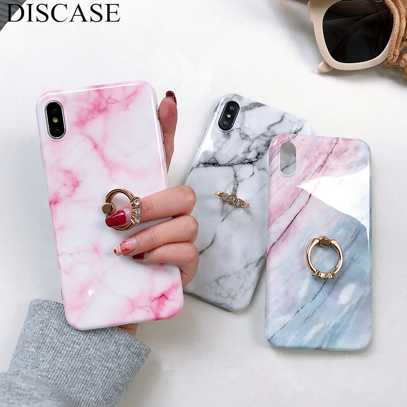 DISCASE Ring Bracket Marble Phone Case For iphone 6 6s XR XS MAX 8 7plus Stylish Glossy TPU Soft Shell All Inclusive Back Case