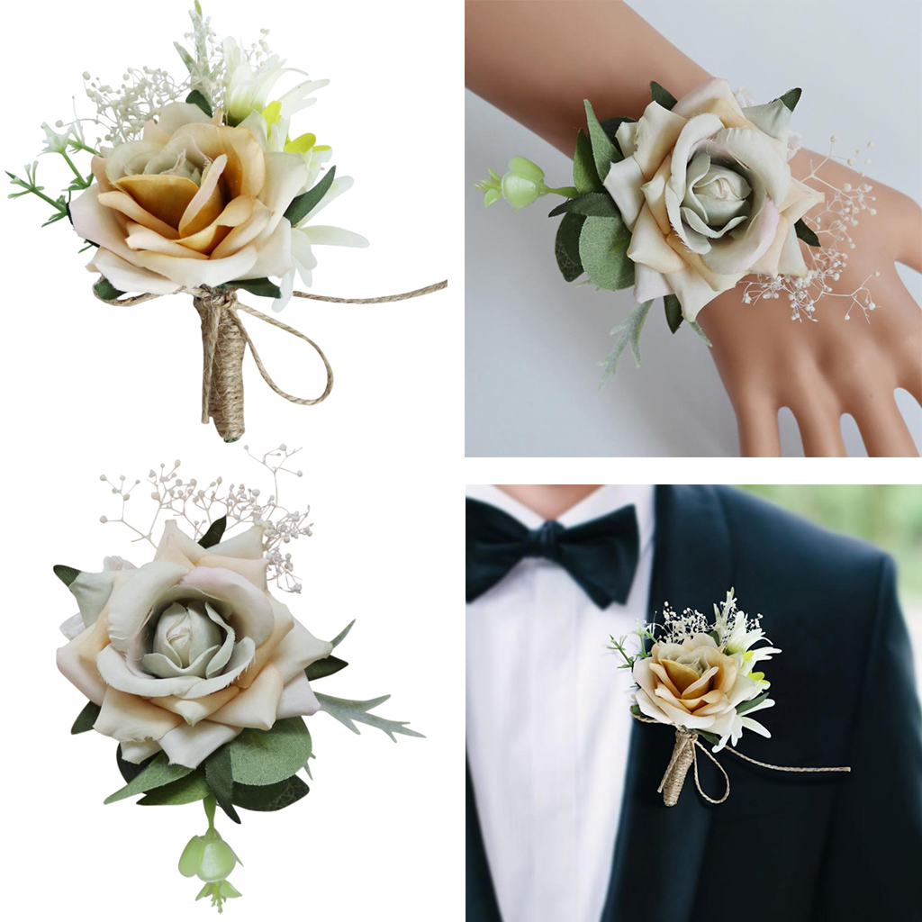 Wrist Corsage Brooch Boutonniere Home Wedding Decor Artificial Rose Hand Flower For Bride Groomsman Bridesmaid Wedding Bouquet