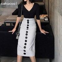 Cakucool New Skirt Summer High Waist Black White Plaid Vintage Midi Skirts Buttons Back Slit Korea Bodycon Slim Pencil Skirt
