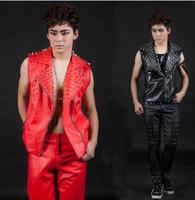 England Black Red Rivets Oblique Zipper Singer Stage Men S Leather Vest Men Brand Roupas Masculinas