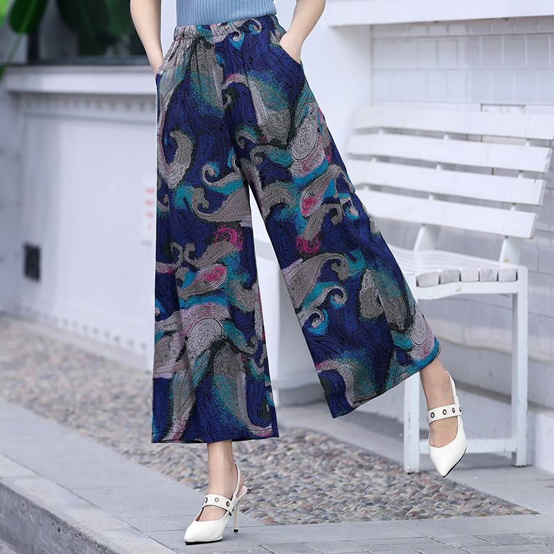2019 Women's Summer Casual Retro Print Bohemian   Wide     Leg     Pants   High Waist   Wide     Legs   Trousers Elastic Waist Beach Holiday   Pants
