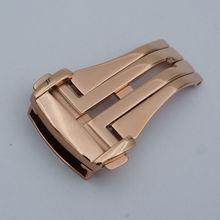 Maikes reloj botón de despliegue hebilla de oro rosa de acero inoxidable de alta calidad 16 18 20mm correas de reloj cierre desplegable para