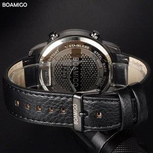 Image 5 - Boamigo 남자 쿼츠 시계 3 시간대 크리 에이 티브 led 디지털 스포츠 시계 남성 가죽 손목 시계 남자 시계 relogio masculino