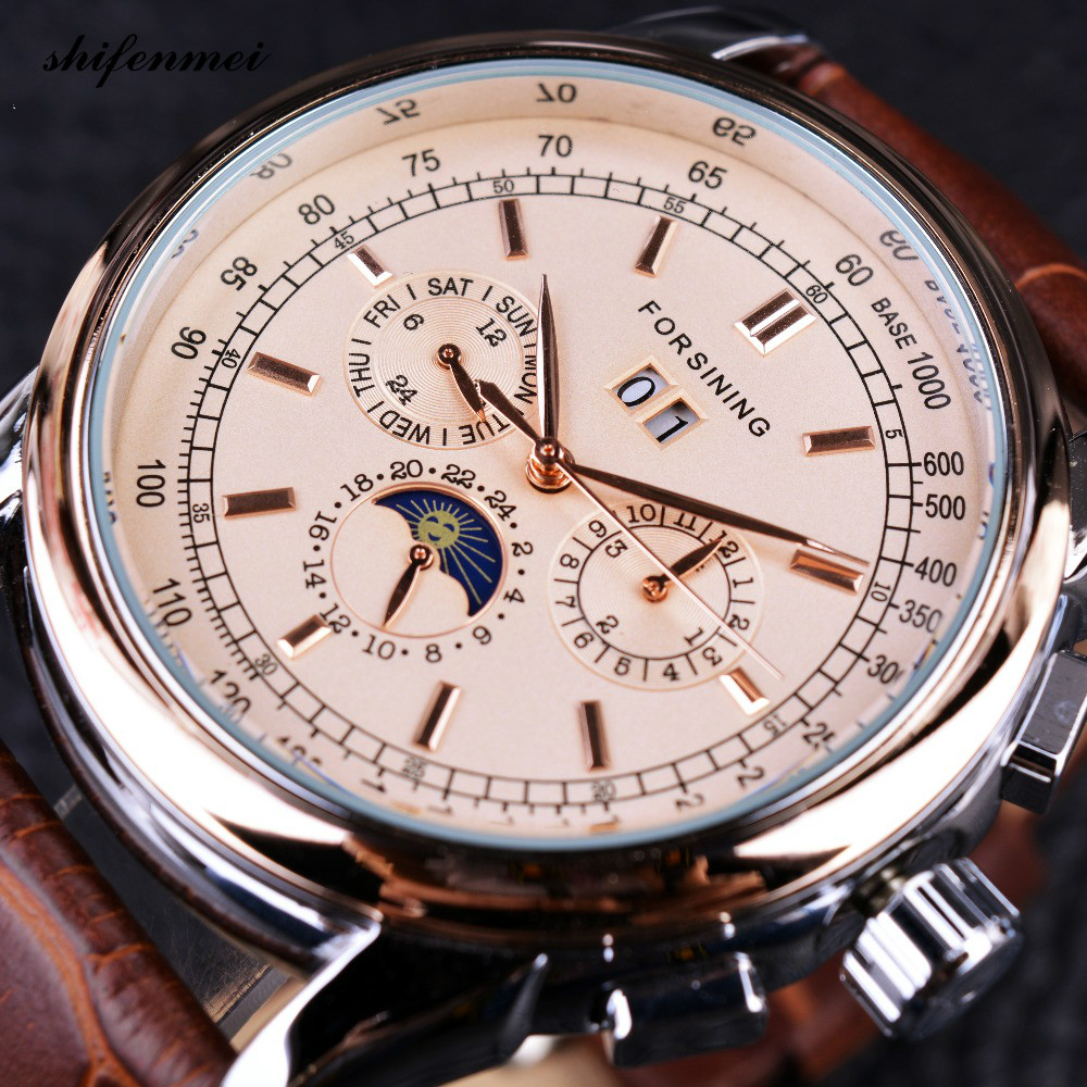 цена на Watches Moon Phase Shanghai Movement Rose Gold Case Brown Genuine Leather Strap Mens Watches Top Brand Luxury Auotmatic Watch