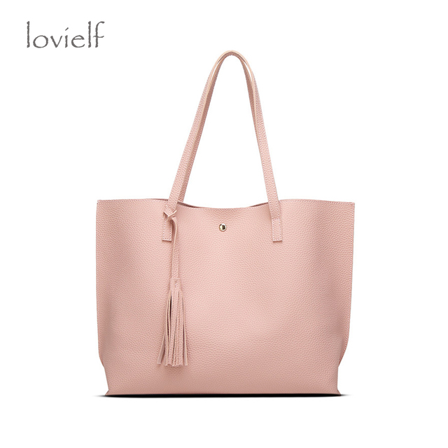 Fashion Women Female High quality PU Fresh Pink large Tassels Shoulder Bag Macaron Color Clemence Tote Bag Ice cream pink Bag