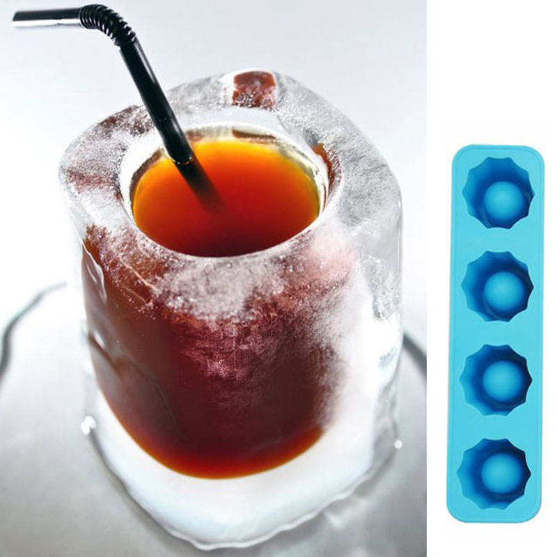 4 Holds Silicon Ice Mold Whiskey Cocktail Frozen Ice Cube Tray Ice Maker Party Bar Tools Ice Shot Glass Mold Kitchen Accessories