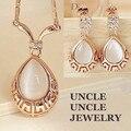 Oro rosa Plateado de Alta Calidad de Ópalo Incrustaciones de Roma Diseño Water Drop Retro Señora Jewelry Set Pendientes/Collar