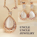 Rose Gold Plated High Quality Opal Inlaid Rome Design Retro Water Drop Lady Jewelry Set Earrings/Necklace