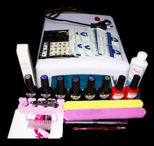 EM--128 Free shipping uv gel nail polish set ,nail tools professional set ,uv gel color with uv led lamp set ,nail art tools