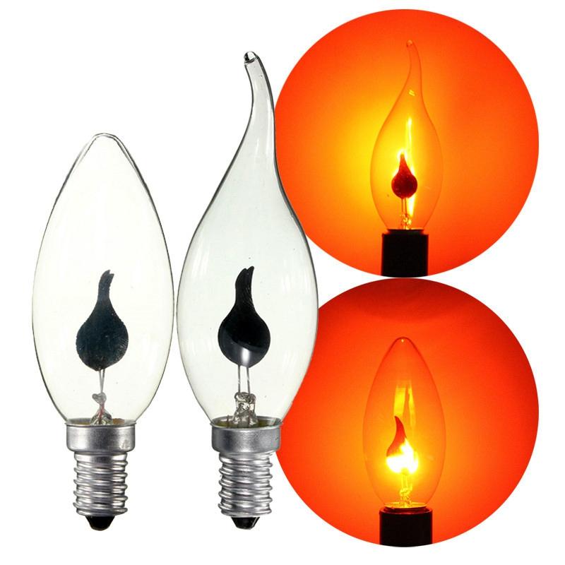 Retro Lampe 3 Watt Vintage Edison Glhbirne E14 Energiesparende Feuer Flamme Kerze Schwanz Kronleuchter Decor