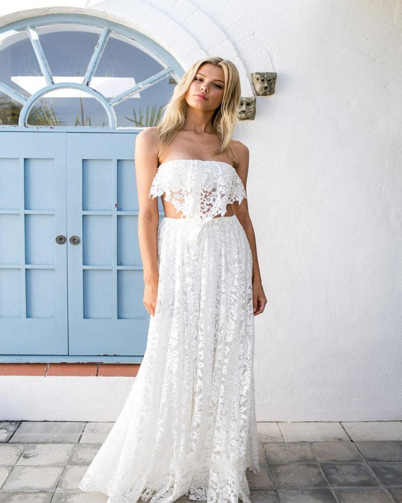 Off the Shoulder Sexy Lace Strapless Beach Wedding Dress ...