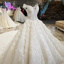 AIJINGYU Vintage Lace Wedding Dress Sparkly Sequins Gowns Sequins Mexico Pearl Beads Gown Bridal Dresses With Sleeves