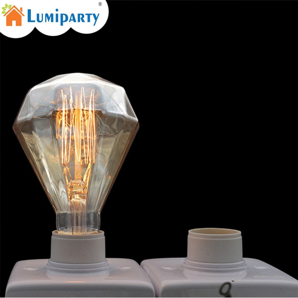 LumiParty 40W Edison E27 Vintage Light Bulbs, Diamond Shape, Warm White, Squirrel Cage Filament Lamp,Incandescent Light Bulb