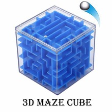 3D Maze Magic Cube Puzzle Speed Cube Labyrinth Rolling Ball Fidget Sensory Toy Blue цена
