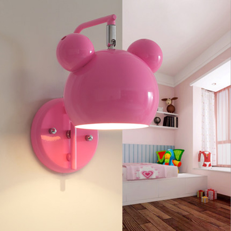 Novelty pink&blue iron Mickey Mouse shape Wall Lamps childrens room lovely cartoon lights creative bedside aisle LED Wall LampsNovelty pink&blue iron Mickey Mouse shape Wall Lamps childrens room lovely cartoon lights creative bedside aisle LED Wall Lamps