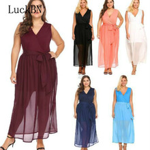 цены L-5XL Plus Size Dress Women Sundress Sexy Deep V Neck Sleeveless Long Maxi Dresses Large Size Lace Up Slim Pink Black Dress Hot