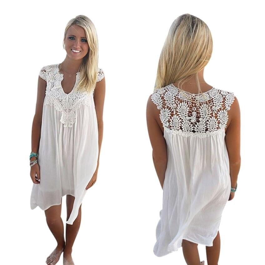Women Lace Sleeveless Casual Summer Dress Ladies Loose Beach BOHO Short Mini  Hollow Out White Party b6f08c00ffa6