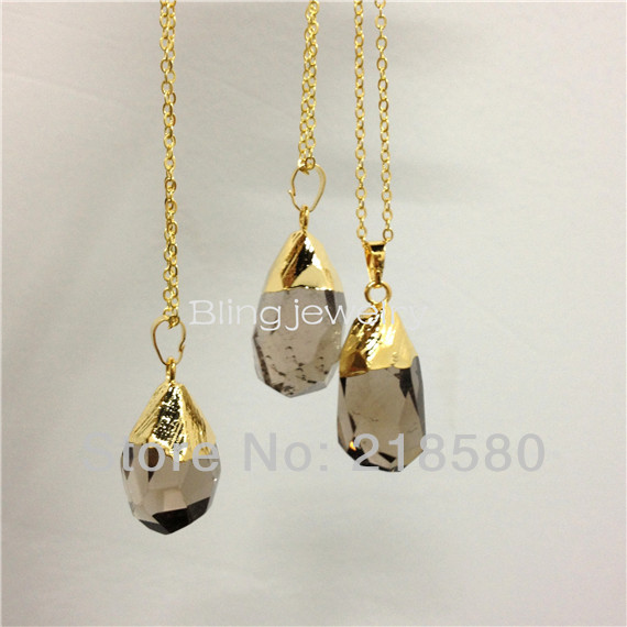H qn95 crystal crown necklace healing crystal opal cylinder point h qn72 faceted waterdrop smoky quartz crystal pendant necklace gold plated aloadofball Choice Image