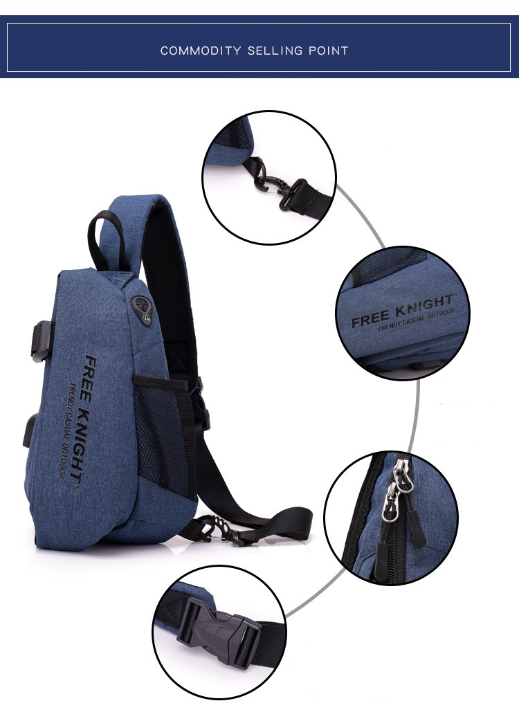 Outdoor Hiking Camping Gym Leisure Chest Bag USB Rechargeable Backpack Waterproof Anti-theft Satchel Bag