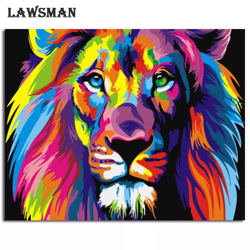 Frameless Colorful For Home Wall Artwork Lion Animals Abstract Painting Diy Digital Painting By Numbers Modern Wall Art Picture