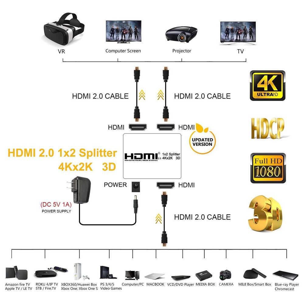 2020 melhor 4k 60hz uhd hdmi divisor 2.0 1x2 hdmi 2.0, divisor de suporte hdcp 1.4 hdr divisor hdmi 2.0 4k hdmi2.0 para ps4
