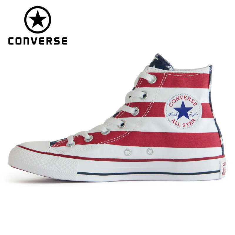 2019 NEW CONVERSE Original  The National Flag Design Shoes All Star Man Women Unisex High Sneakers Skateboarding Shoes M8437