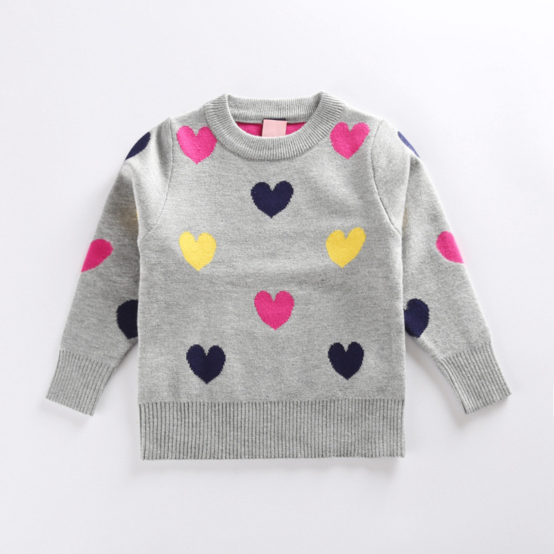 b395dd420 2017 Kids New Fashion Sweater Girls Hearts Printed Sweater Baby ...