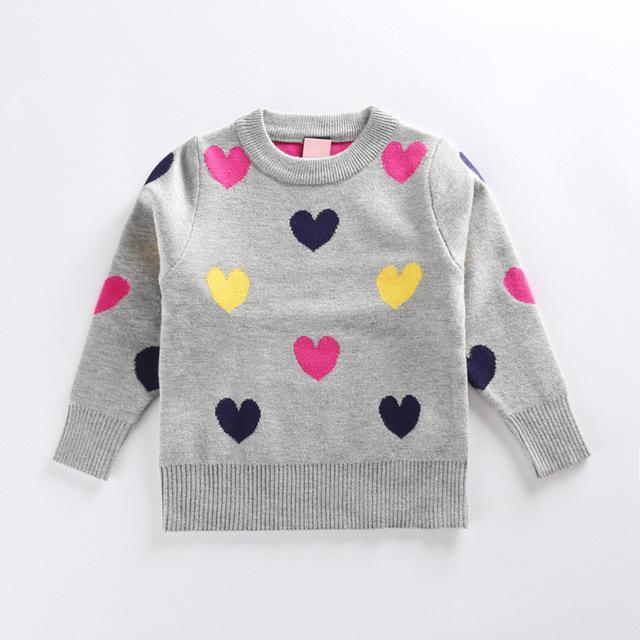 bd7fd07e5 2017 Kids New Fashion Sweater Girls Hearts Printed Sweater Baby ...