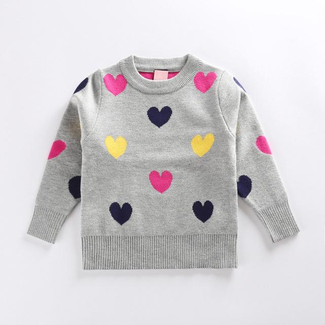 2017 Niños de la Moda Niñas Suéter Corazones Impreso Suéter Niñas Suéter Caliente 2017 Otoño Invierno Abrigos 3 Color