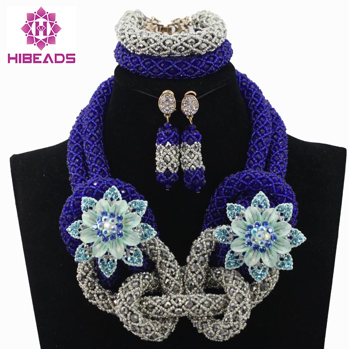 Latest Nigerian Wedding Royal Blue African Beads jewelry Set Silver Beads Bride Jewelry Handmade Free Shippingt HX623Latest Nigerian Wedding Royal Blue African Beads jewelry Set Silver Beads Bride Jewelry Handmade Free Shippingt HX623