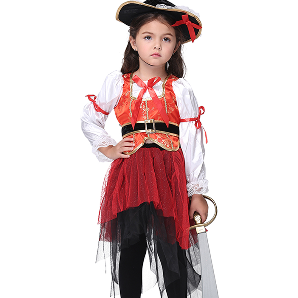 Pirate Costume Girls Clothing Halloween Costume for Kids Dress Girl Children Party Dress Fancy Cosplay Costume Set Top+Dress+Hat superhero halloween costume for girls cosplay performance dance show fancy costumes girls clothing children suit dress for girl