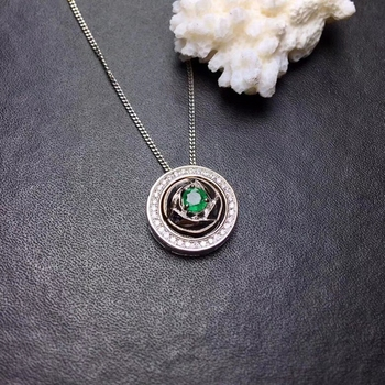 natural green emerald Pendant necklaces natural gemstone pendant S925 silver Fashion round two wears Women party luck  jewelery