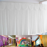 3x6M White Wedding Party Backdrop Photography Background Drape Curtains Backdrop Wall Decor Wedding Props Supplies