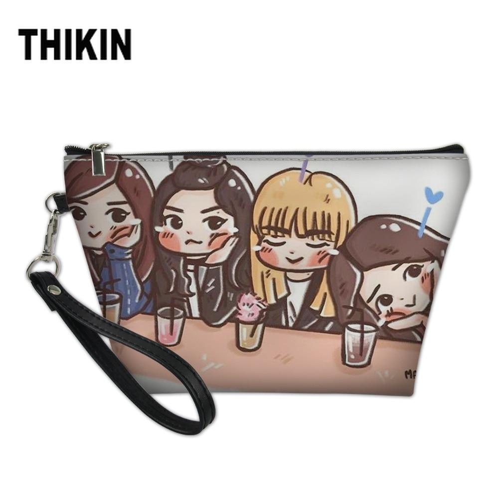 THIKIN Cute Cartoon Blackpink Fashion Women 's Make Up Case Professional Neceser Portable Cosmrtic Pouch Beauty Organizer Bag